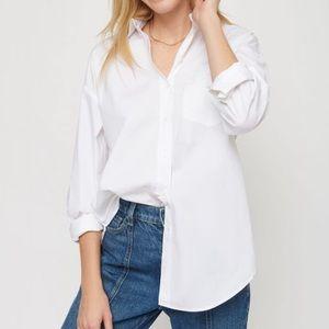 Dynamite White Button Blouse with Pocket